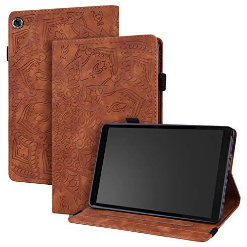 WHWOLF Funda para Lenovo Tab M8 HD 2019 (TB-8505F/X) Carcasa Tablet Cárcasa Cuero PU Bolsillo Función de Soporte Silicona TPU Absorción de Impactos -marrón