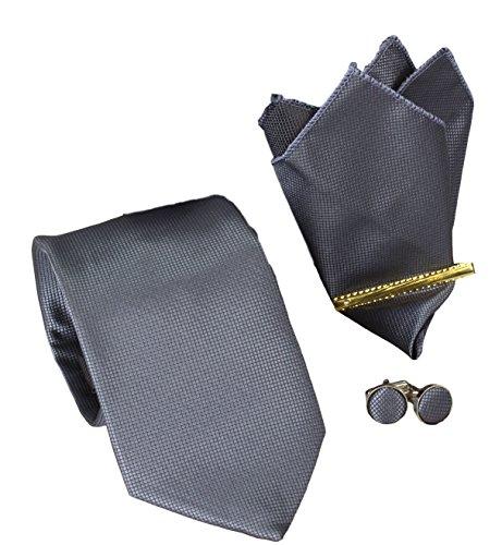 Krawatten Set 4er 8,5cm Krawatte + Einstecktuch + Manschettenknöpfe + Krawattennadel in dunkelgrau