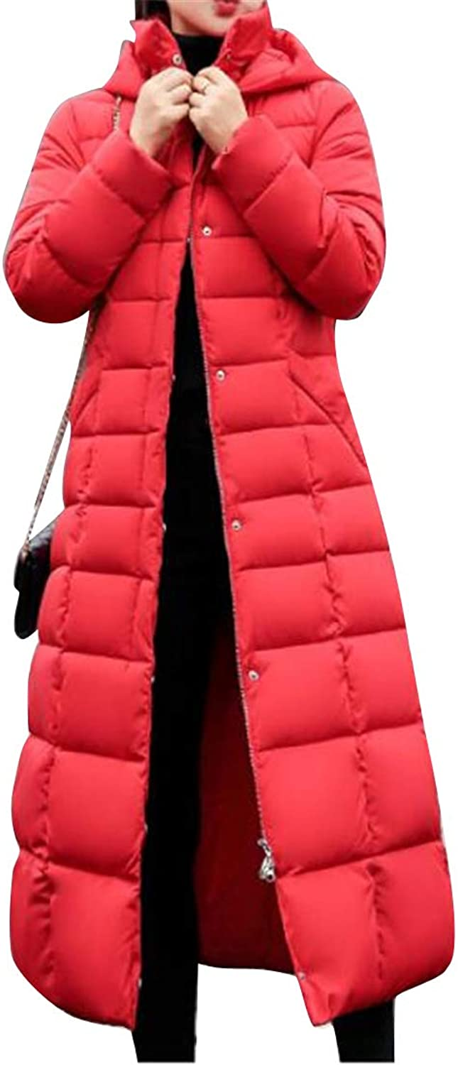Fubotevic Women's Winter Warm Hoodie Faux Fur Collar Long Down Quilted Jacket Coat Parka