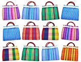 Set of 12 Small Mexican Tote Mercado Bags 7.5 inch by 7.5 inch - Assorted Colors - Mini Mexican Mercado Bags (High Thread Mesh)