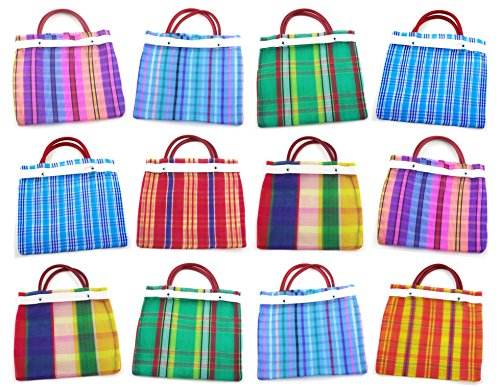 Small Mexican Tote Mercado Bags 7.5 inch by 7.5 inch - Assorted Colors - Set of 12 Mini Mexican Mercado Bags (High Thread Mesh)