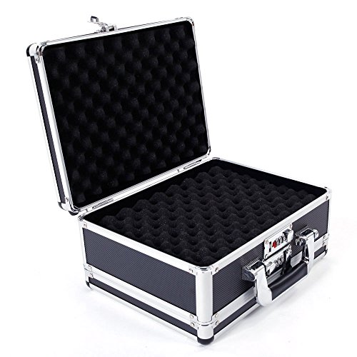 SSLine Locking Personal Security Box,11.81' L x 5.91'Wx 9.05' H Aluminum New Framed Locking Gun Pistol Handgun Lock Box Hard Storage Carry Case, Silver