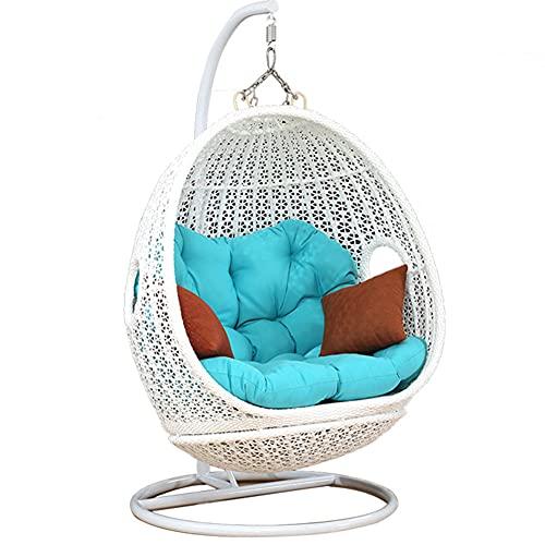 DFGH Silla giratoria de ratán, Cesta Colgante + Cojín + Estructura Silla Colgante Lounge Cesta Columpio sillón, Hamaca para Jardín, para Interiores o Exteriores