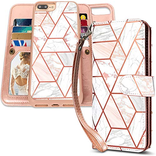CASEOWL iPhone 8 Plus Case,iPhone 7 Plus Wallet Cases Magnetic Detachable with 9 Card Slots, Hand Strap for iPhone 7 Plus/8 Plus, 2 in 1 Folio Flip Premium PU Leather Wallet Case-Marble Rose Gold