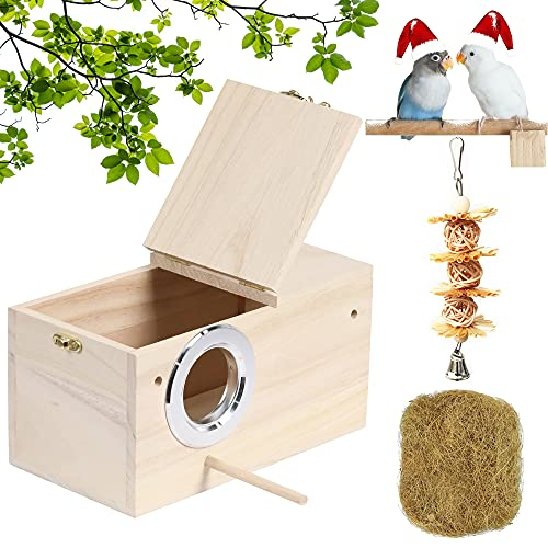 """PETWAKEY-ST Birds Breeding Box,Wooden Parakeet Nesting Box Cage House with Coconut Fiber Bird Toy for Cockatiel Lovebirds Budgie Finch Canary (7.8""""x4.8""""x4.8"""")"""