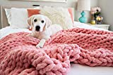 Kaffrey Luxury Chenille Chunky Knit Blanket - Pink Flamingo, 50'x60' - Machine Washable, No Shed Soft Hand-Knitted Large Cozy Thick Yarn Throw - Home, Bedroom Decor Gift for Her