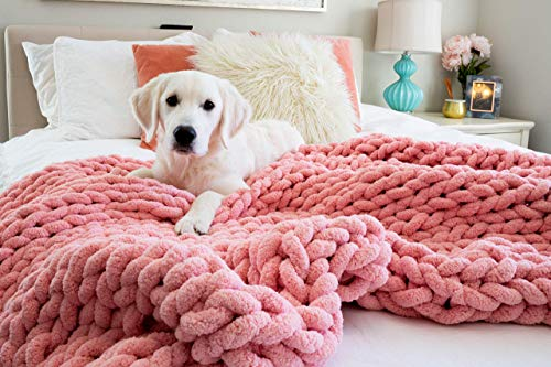 Kaffrey Luxury Chenille Chunky Knit Blanket  Home Bedroom Decor Gift for Her  Machine Washable No Shed Hypoallergenic Soft HandKnitted Large Cozy Yarn Weighted Throw Pink Flamingo 50quotx60quot