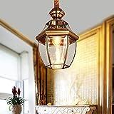 FANXQ Lámpara Antigua Pendiente De La Lámpara E27 De Bronce De Cobre Retro Lámparas LED Lámpara De Techo De Cristal De Oro Barra De Corredor Accesorios De Iluminación De Jardín Terraza Colgando