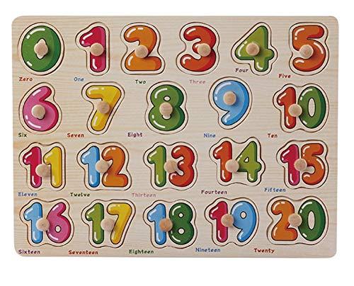 Hosaire 1x Rompecabezas de Madera,Número Estilo para Niños de 2 a 5 años,Niños Bebé Temprano Juguete Educativo Aprendizaje en el Hogar Educación Preescolar Juguetes Size 22.5 * 30CM (Número-4)