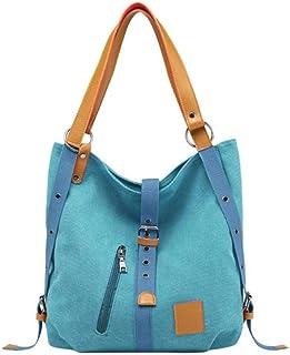 high quality Women Canvas Tote Ladies Shoulder Bag Reusable Shopping Beach Bags Knapsack,Blue (Color : Blue)