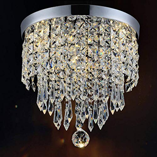 CRYSTA WORLD Crystal Chandelier Luxury Light Lamp Round Crystal Rain Drop Pendant Light Fixture for Living Room Bedroom. (3 in 1)