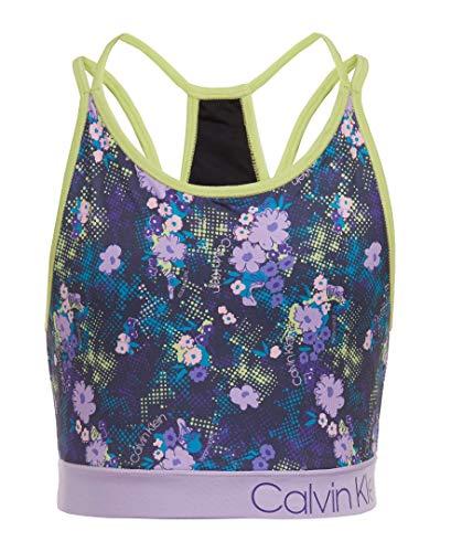 Calvin Klein - Camiseta Deportiva para niña Grande, Floral Splash - Carbón Vegetal, L12/14