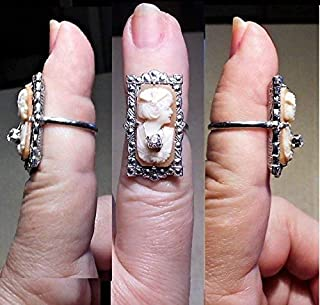 A 1930s RING Vintage Hand Carved Shell Habille Cameo w/Rhinestone Necklace in Marked Uncas Marcasite Ring.