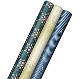 Hallmark Holographic Holiday Wrapping Paper with Cut Lines on Reverse (3 Rolls: 80 sq. ft. ttl) Winter Glow: Navy Blue, Gold, Holographic Snowflakes