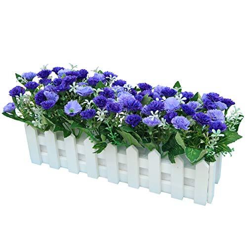 Flikool Claveles Flores Artificiales con Valla Faux Carnations Plantas Artificiales con Cerca Macetas Simulacion Falso Potted Bonsai Flor Artificial 30 * 7.5 * 15 cm - Azul