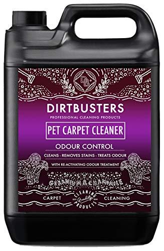 Dirtbusters Haustier Teppichreiniger – neutralisiert Tiergerüche & entfernt Flecken in Teppichen & Polstern - mit Geranien- und Kamillenduft - für Teppichreinigungsmaschinen geeignet - 5 l Kanister