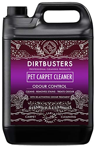 Dirtbusters pet carpet cleaner 5 litre professional carpet and upholstery extraction shampoo solution cleaner with reactivating odour treatment. for all carpet cleaning machines