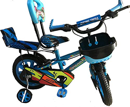 """Rising India 14"""" Cartoon Character Double Seated Kids Bicycle for 3-5 Years Sky Blue-Semi Assembled"""