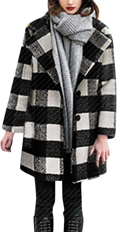 FreshZone Women's Black White Lattice Parka Casual Winter Lady Knit Cardigans Outcoat Coat Button