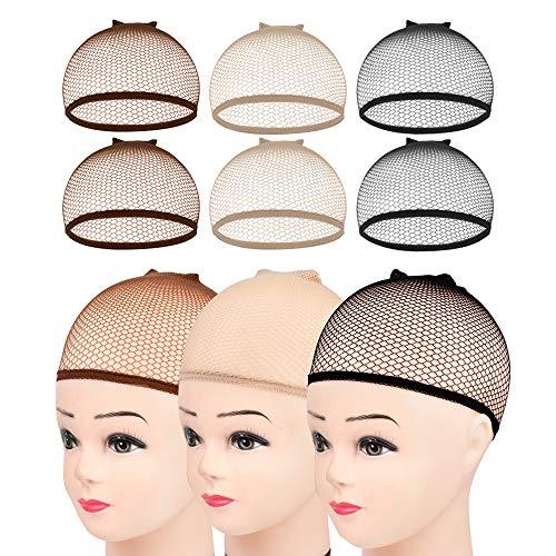 Wig Cap,MORGLES 6pcs Hair Net for Wig Closed End Mesh Net Wig Caps Mesh Wig Cap for Women (Brown,Beige,Black)