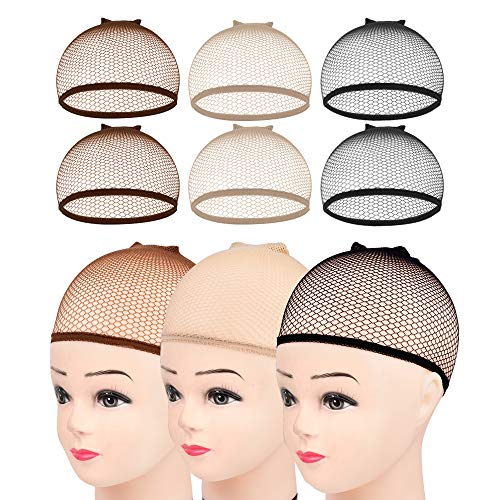 Wig Caps,MORGLES 6pcs Mesh Wig Caps Mesh Net Liner Weaving Cap (Brown,Beige,Black)