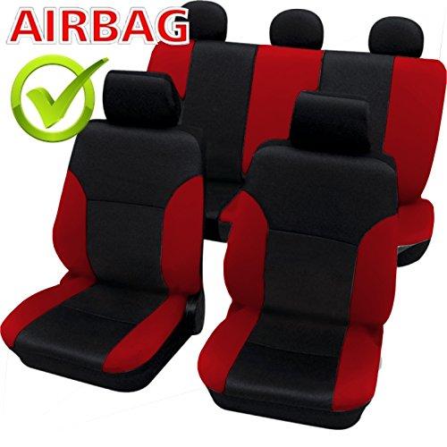 akhan sb103–Calidad Asiento de Coche Asiento Fundas schonbezüge DGX650con airbag Lateral Negro/Rojo
