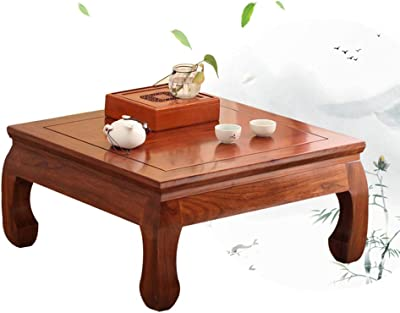 Coffee Table Bay Window Table Solid Wood Small Square Coffee Table Window sill Low Table Steaming Table Tables (Color : Brown, Size : 50 * 50 * 30cm)