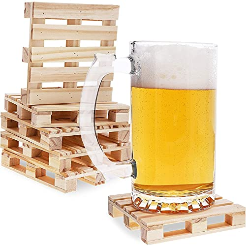 Mini Wooden Pallet Beverage Coasters for Hot and Cold Drinks (6 Pack)