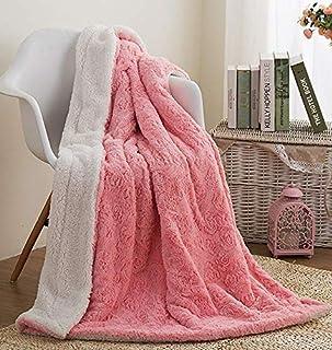Faux Fur Pink Throw Blanket - DaDa Bedding Luxury Rose Buds Blushing Lavish Soft Warm Cozy Plush Reversible Sherpa - Brigh...