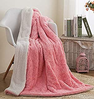 Faux Fur Pink Throw Blanket - DaDa Bedding Luxury Rose Buds Blushing Lavish Soft Warm Cozy Plush Reversible Sherpa - Bright Vibrant Embossed Textured Rosey Baby Pink & White - 90