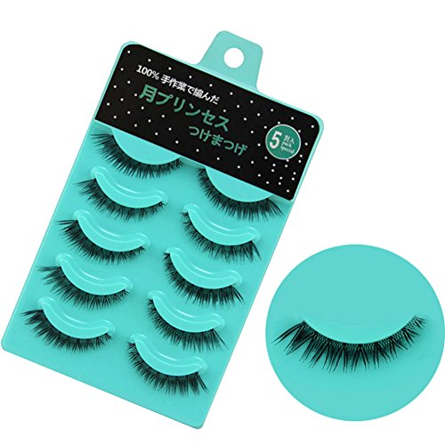 Scala 5 pairs/set 3D False Eyelashes Messy Cross Thick Natural Fake Eye Lashes Professional Makeup Tips Short False Eye Lashes (L-12)