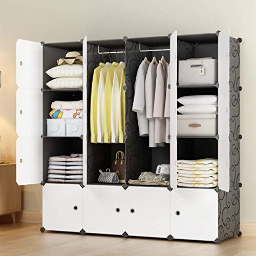 "KOUSI Portable Closets 14""x18"" Depth Cube Wardrobe Closet Wardrobe in Closet Armoire Wardrobe Closet Bedroom Armoire Room Closet with Doors Storage Organizer with Doors,10 Cubes 2 Hanger"