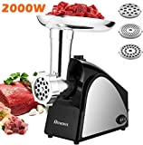 Electric Meat Grinder 2000W, Sausage Grinder with 3 Stainless Steel Grinding Plates and Sausage Stuffing Tubes for Home Use &Commercial