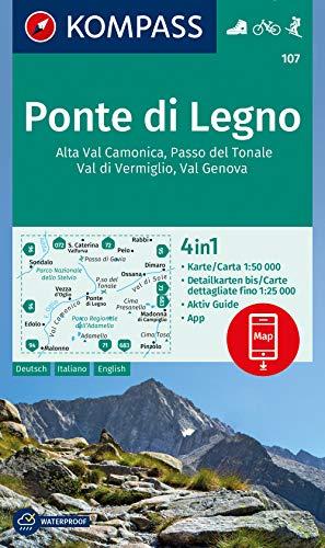 Carta escursionistica n. 107. Ponte di legno Alta Val Camonica, Passo del Tonale, Val di Vermiglio, Val Genova 1:50.000. Ediz. italiana, tedesca e inglese