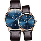 OLEVS Couples Watches for Him and Her - Ultra Thin Quartz Analog Women's and Men's Wrist Watches - Lovers Wedding Gift Set of 2