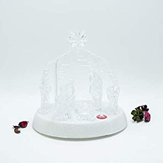 ICE ARMOR Holiday Christmas Decorative Nativity Set Prelit LED Home Décor Crystal with White Glitter Base, Small (93BC-001)