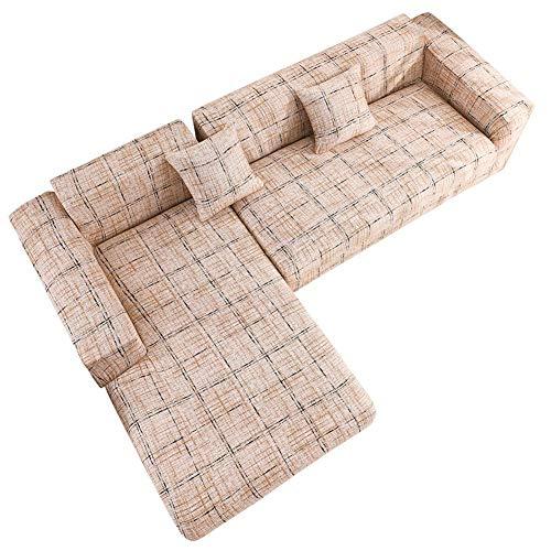 wenhe - Conjunto de funda de sofá en forma de L, funda elástica para sofá esquinero, extensible, protector de sofá para la decoración del hogar