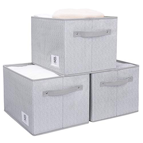JS HOME Extra Large Closet Storage Bins 3-Pack Storage Baskets for Shelves Closet Storage Bins Storage Baskets with Handles Grey&White 156 L x 12 W x 102 H