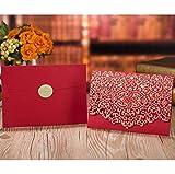 N\A Invitaciones de Boda Elegante Encaje Favor Imprimir Sobres Fiesta de la Boda decoración 1pcs Tarjeta de Invitaciones de Boda Flora Oro Rojo Blanco Corte de Lujo (Color : One Set Red 1)