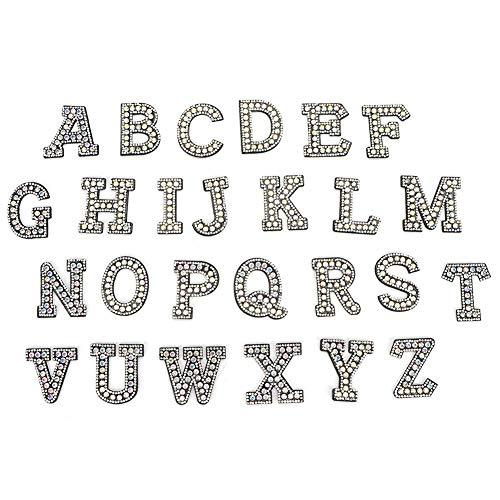 HEEPDD Naszywki alfabetowe, 26 szt. litery A-Z kryształy górskie włókniny naszywane naszywki dekoracyjne aplikacje na buty czapka jeansowe kurtki plecaki materiały odzieżowe