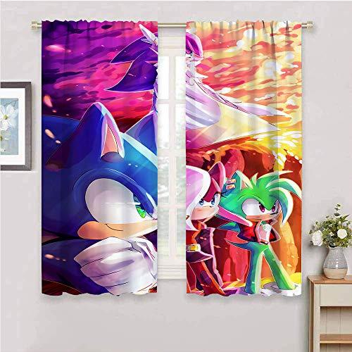 Cortinas opacas con aislamiento térmico Sonic the Hedgehog, paneles de tratamiento de ventanas con aislamiento térmico para oscurecimiento de la habitación, cortinas opacas de 42 x 63 pulgadas