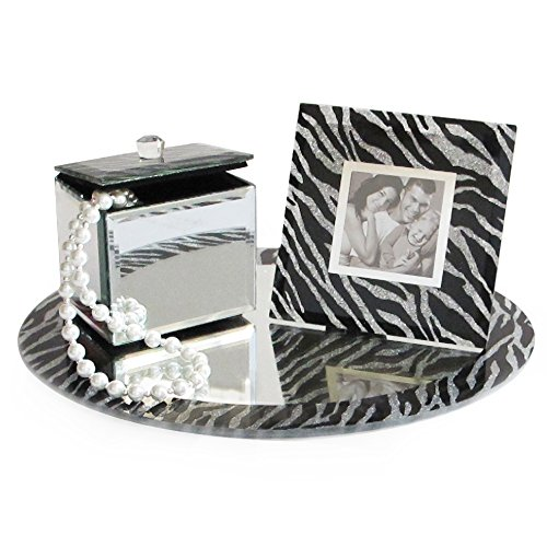 American Atelier 1331180 Round Mirror Vanity Set with Picture Frame and Jewelry Box, Zebra