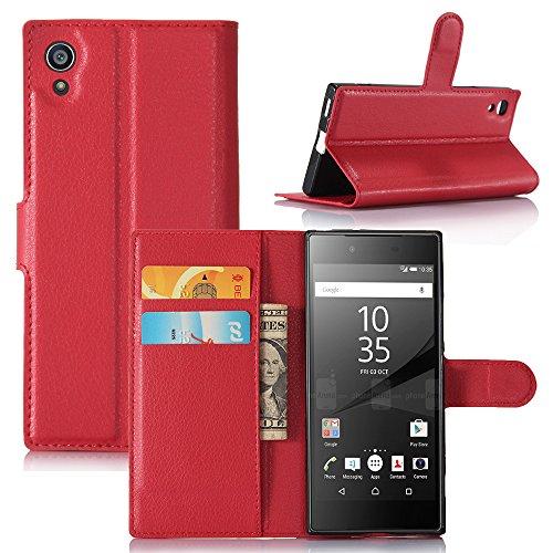 Easbuy Pu Leder Kunstleder Flip Cover Tasche Handyhülle Hülle Mit Karte Slot Design Hülle Etui für Sony Xperia XA1 / Z6 Smartphone Handytasche