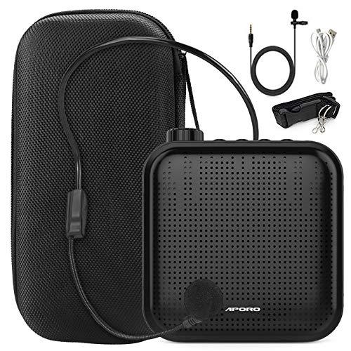Joyhoop amplificador de voz portátil de 12 W, mini multifunción de 1200 mAh, con 2 micrófonos y bolsa de almacenamiento, utilizado para la formación de profesores(Negro)