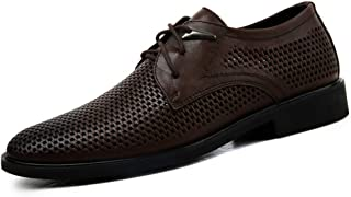 2019 Mens New Lace-up Flats Men's Perforated Shoes Lace Up Round Toe Business Oxfords Breathable Loafers