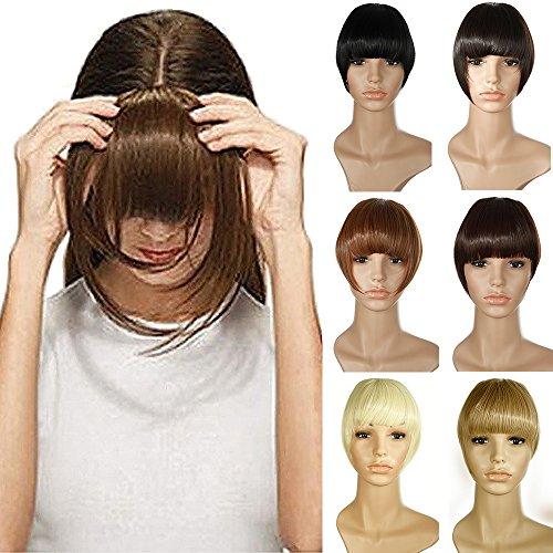 Elailite Frangetta Finta Capelli Clip Frangia Extension Frontale Fascia Unica Corti Hair Bang Fringe Hairpiece Posticci, Marrone Scuro
