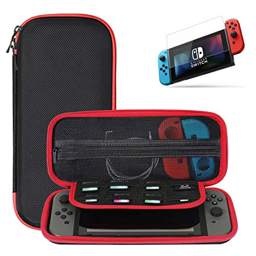 Ztotop Case and Tempered Glass Screen Protector for Nintendo Switch, Portable Travel Carrying Case Slim Protective Hard Shell for Switch Console & Controller Accessories (10 Game Holder), Streak Red