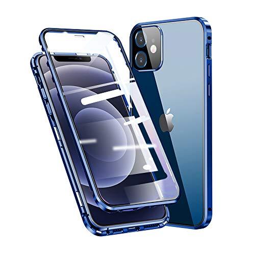 Jonwelsy Cover per iPhone 12 (6,1 ), Adsorbimento Magnetico Paraurti in Metallo con 360 Gradi Protezione Case Doppi Lati Trasparente Vetro Temperato Flip Custodia per iPhone 12 (Blu)
