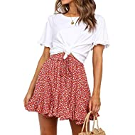 POGTMM Women's Casual Ruffle Short Skirt High Waist Floral Print Swing Beach Mini Skirt
