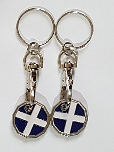 Fabulouz 2 X NEW SHAPE 12 Edge Sided Trolley Token £1 Coin Pound Shopping Key Ring Clasp Supermarket Locker Gift(REDESIGNED)(ST. ANDREW FLAG DESIGN)